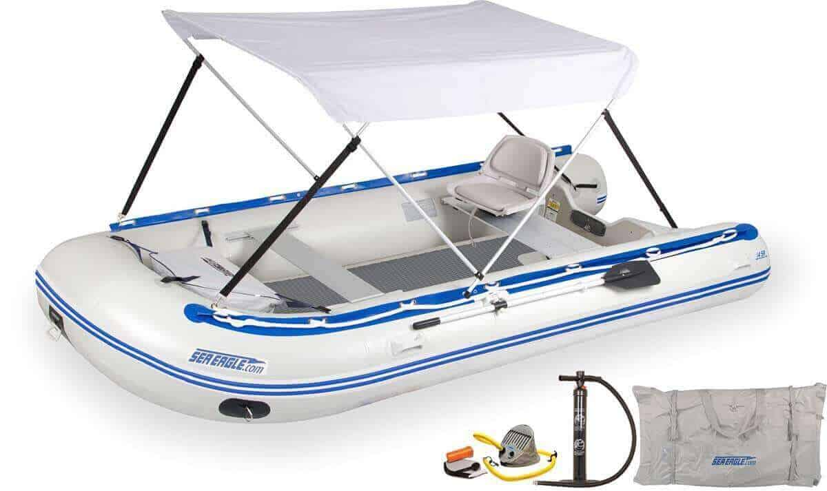 The 14SRDK_SWC Sea Eagle 14' Sport Runabout Inflatable Boat - Drop Stitch Swivel Seat & Canopy Package.