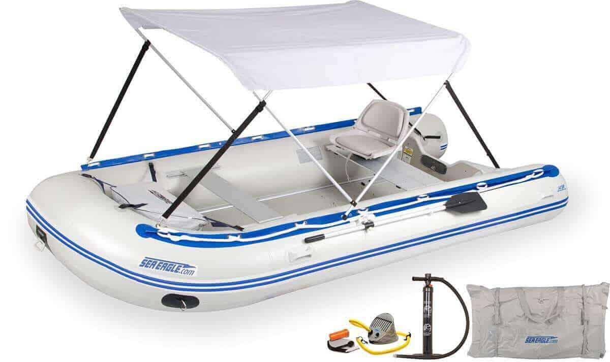 The 14SRK_SWC Sea Eagle 14' Sport Runabout Inflatable Boat - Swivel Seat & Canopy Package.