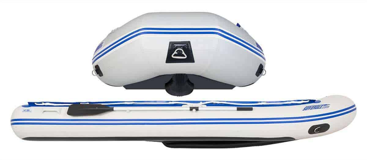 The patented outside Drop-Stitch keel on a Sea Eagle 14' Sport Runabout Inflatable Boat.