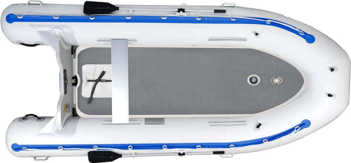 A Sea Eagle 14' Sport Runabout Inflatable Boat with the rigid high-pressure inflatable Drop-Stitch floor.