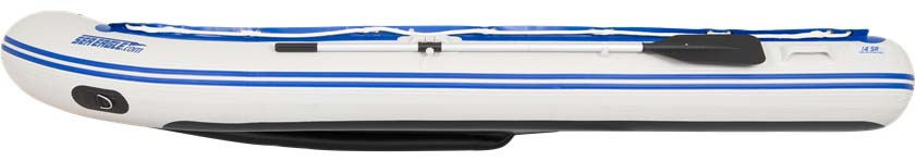 The side view of a Sea Eagle 14' Sport Runabout Inflatable Boat.