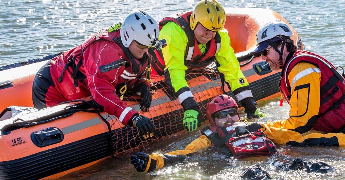 A Sea Eagle Rescue14 Sport Runabout Inflatable Boat used in an emergency to rescue an injured boater.