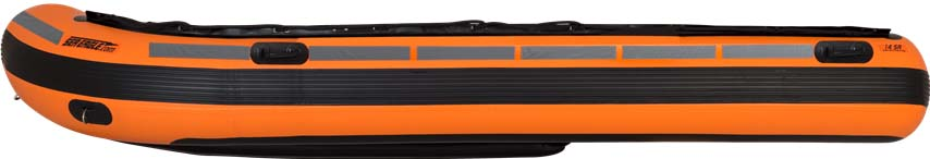 The side view of a Sea Eagle Rescue14 Sport Runabout Inflatable Boat.