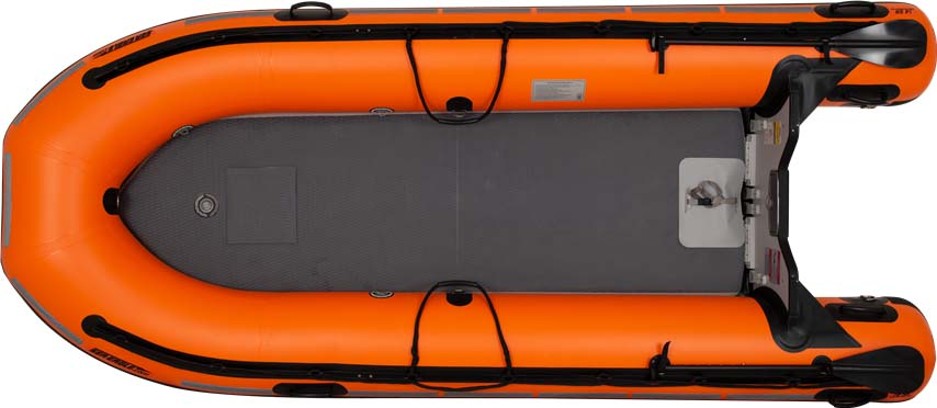 The top view of a Sea Eagle Rescue14 Sport Runabout Inflatable Boat.