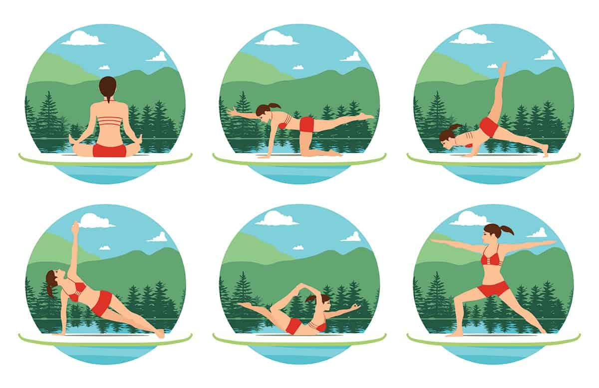 Stand-up paddle board (SUP) yoga basic poses to try the next time you are out on the water.