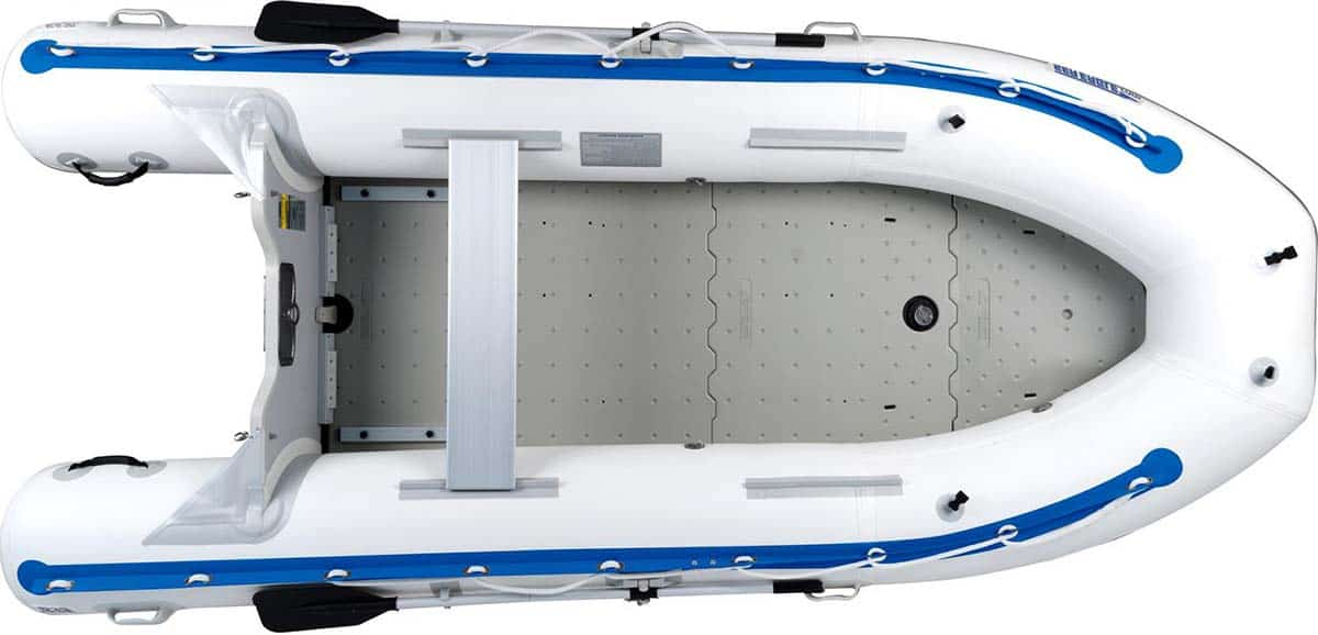 A Sea Eagle 12'6″ Sport Runabout Inflatable Boat with the molded plastic floorboard.