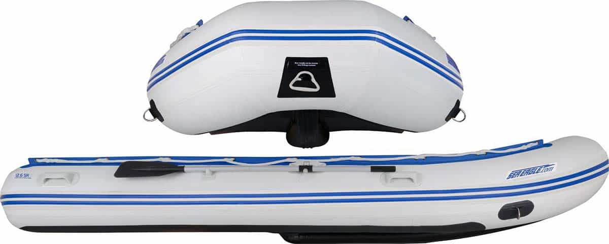 The patented outside Drop-Stitch keel on a Sea Eagle 12'6″ Sport Runabout Inflatable Boat.