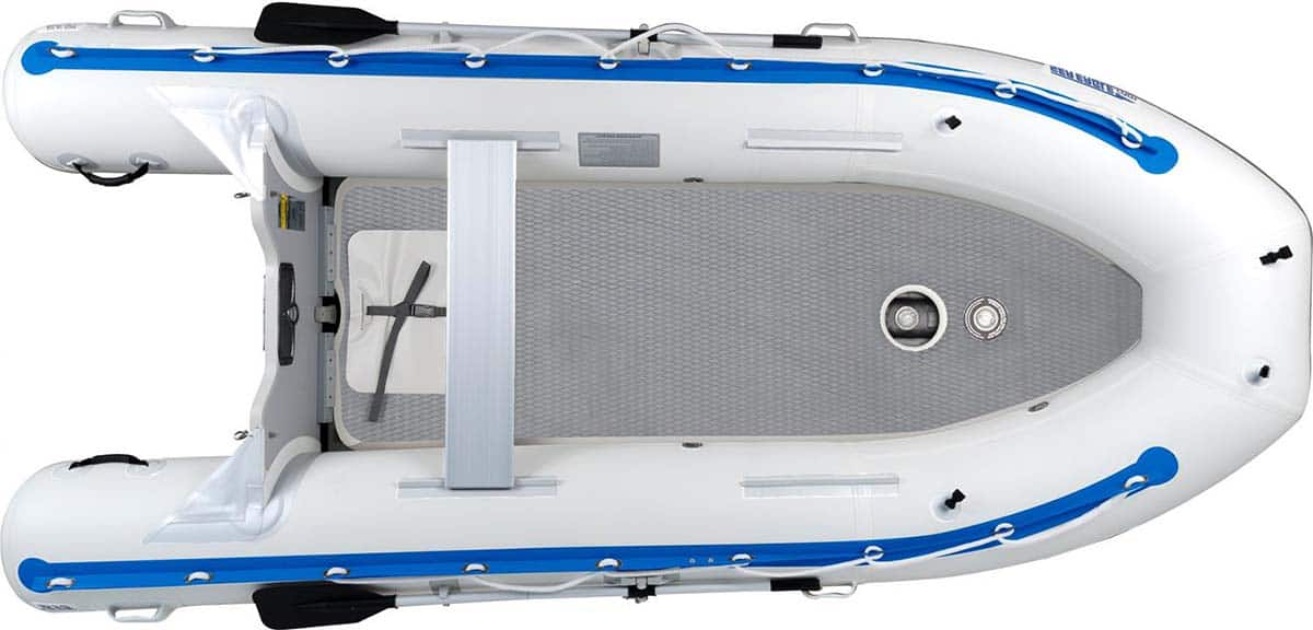 A Sea Eagle 12'6″ Sport Runabout Inflatable Boat with the rigid high-pressure inflatable Drop-Stitch floor.