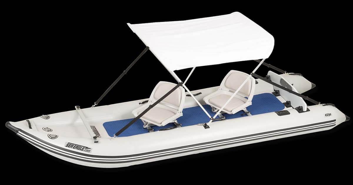 A Sun & Rain Canopy on a Sea Eagle 437ps PaddleSki Inflatable Catamaran-Kayak-Boat.