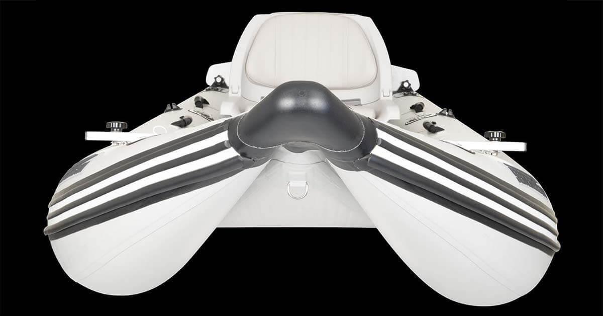 The unique hull design of a Sea Eagle 437ps PaddleSki Inflatable Catamaran-Kayak-Boat.