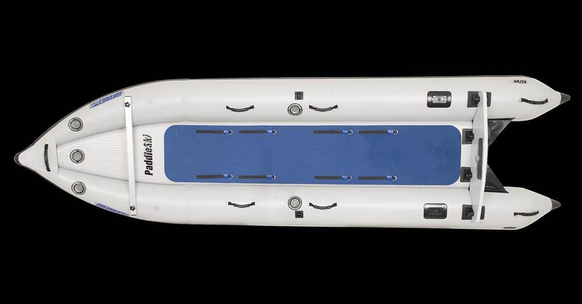 The rigid, high-pressure, inflatable drop-stitch floor of a Sea Eagle 437ps PaddleSki Inflatable Catamaran-Kayak-Boat.