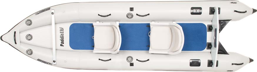 The top view of a Sea Eagle 437ps PaddleSki Inflatable Catamaran-Kayak-Boat.