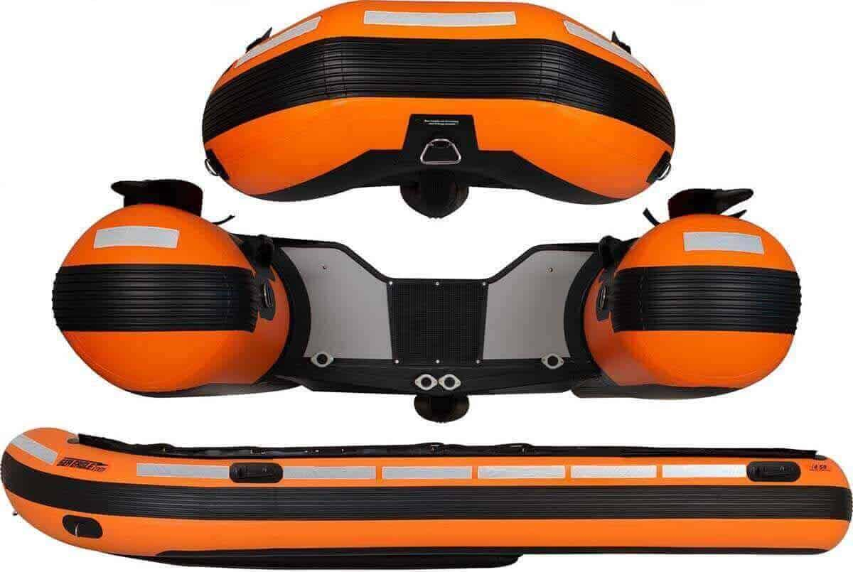 The 360-degree high visibility reflective tape on a Sea Eagle Rescue14 Sport Runabout Inflatable Boat.
