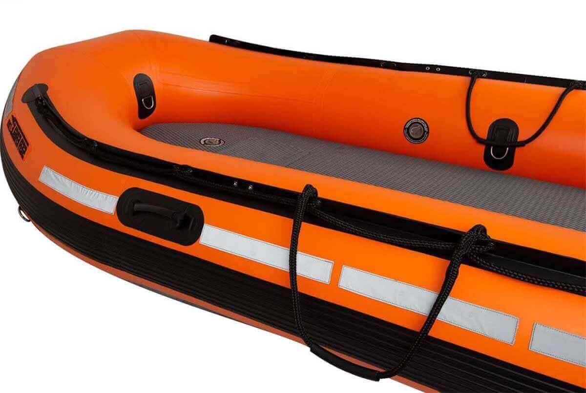 The grab line hogging of a Sea Eagle Rescue14 Sport Runabout Inflatable Boat.