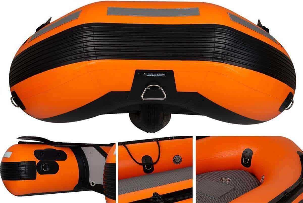 The extra heavy-duty D-rings on a Sea Eagle Rescue14 Sport Runabout Inflatable Boat.