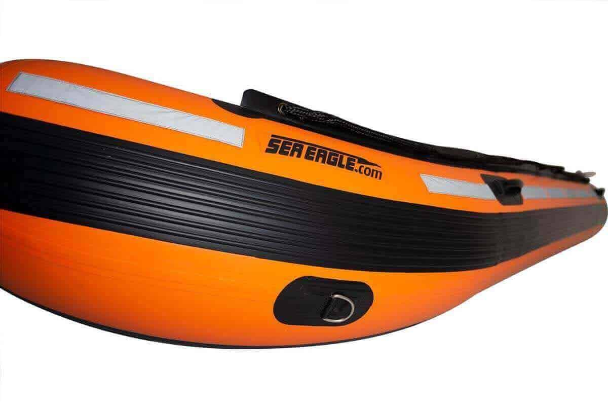 The rubber strake on a Sea Eagle Rescue14 Sport Runabout Inflatable Boat.