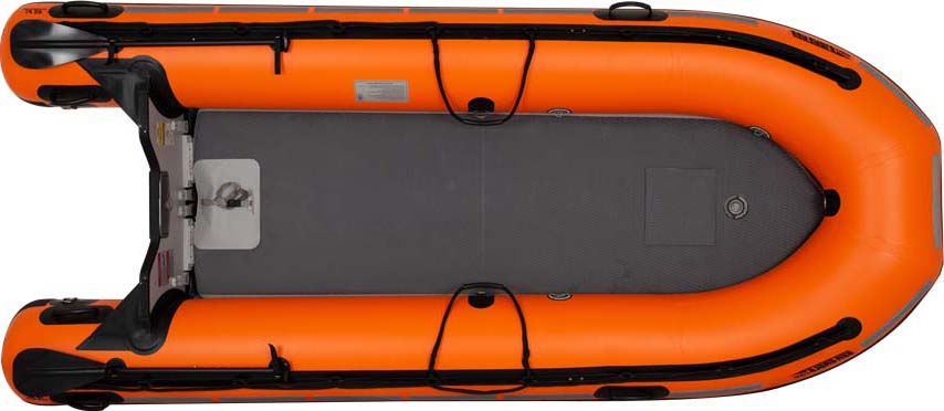 The top view of a Sea Eagle Rescue14 Sport Runabout with the structurally rigid, drop-stitch, inflatable floor.