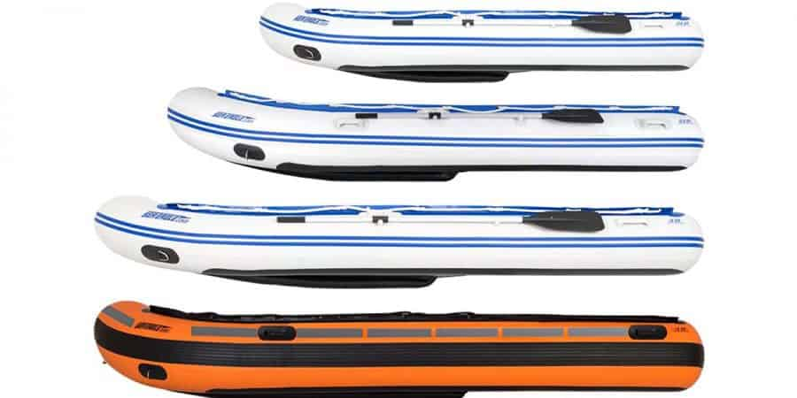 Sea Eagle Sport Runabout Inflatable Boat series. Side view of the 10.6sr, 12.6sr, 14sr, and Rescue14.