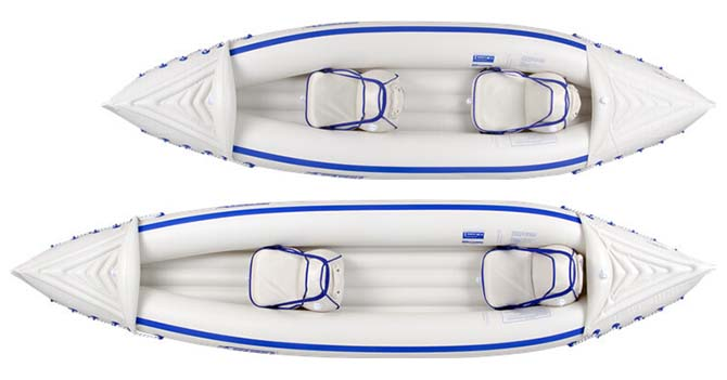 The Sea Eagle inflatable Sport Kayak hulls are made of a tough and durable Polyvinyl chloride (PVC).