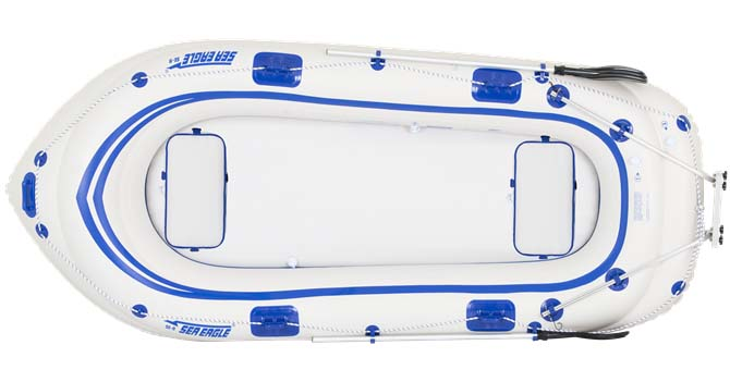 The hull of Sea Eagle Motormount inflatable boats are made from a moderate-pressure K-80 Polykrylar fabric.