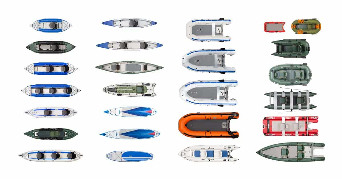 The full Sea Eagle lineup of inflatable boats, kayaks, canoes, and boards that have 1000 denier, reinforced, high-pressure fabric hull material (Explorer Kayaks, RazorLite Kayaks, FastTrack Kayaks, Travel Canoes, Frameless Fishing Boats, Fishing Skiffs, Sport Runabout Boats, FoldCat Pontoon Boats, FastCat Catamarans, PaddleSki Catamarans, and Boards and SUPs).