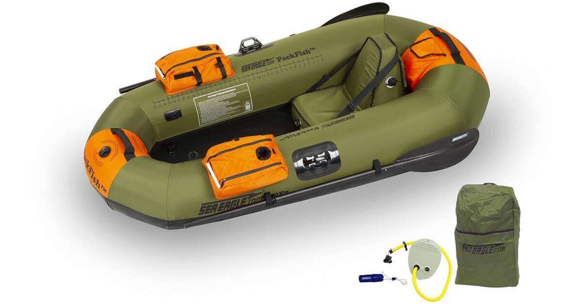 The Sea Eagle PackFish 7 Inflatable Frameless Fishing Boat Deluxe Fishing Package (Model Number PF7K_D).