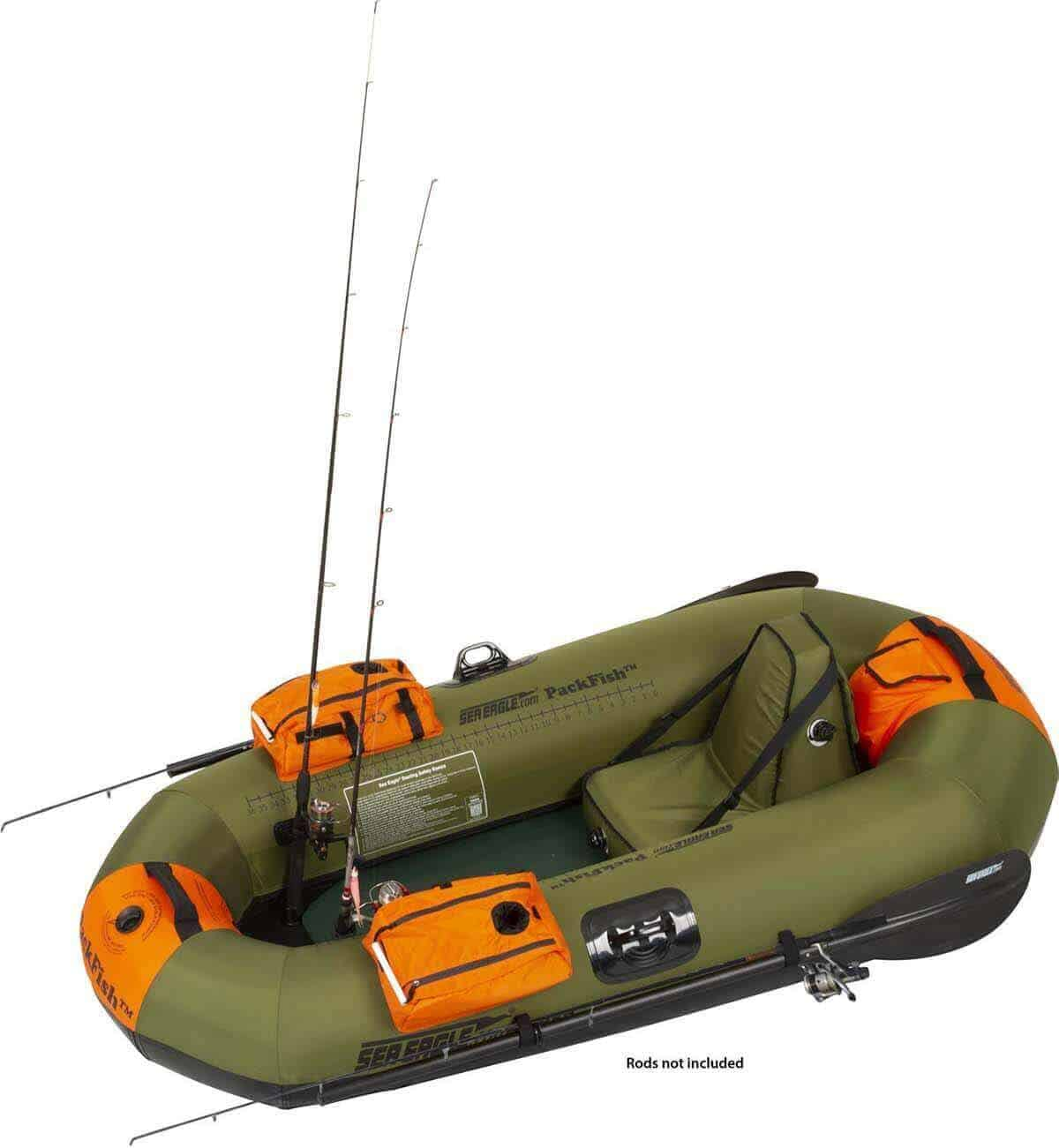 The Sea Eagle PackFish7 Inflatable Frameless Fishing Boat has two built-in industrial-strength rod holders.