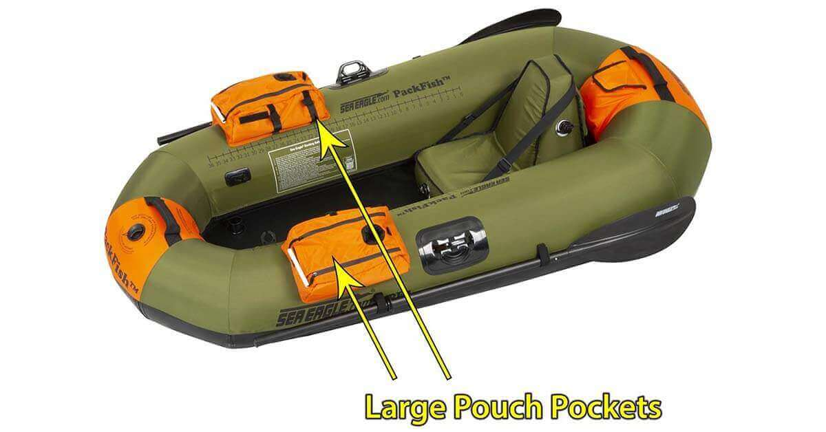 The Sea Eagle PackFish7 Inflatable Frameless Fishing Boat has two pouch pockets with cup holders for keeping up with tackle and tools.