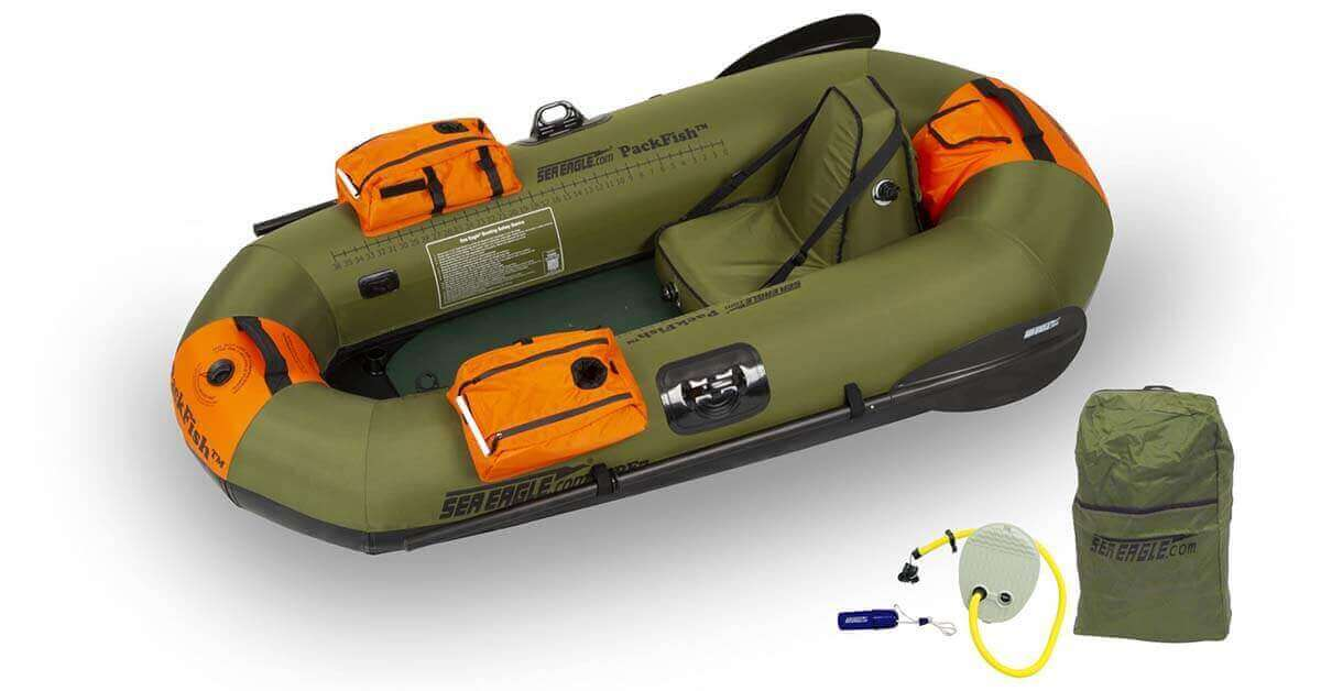 The Sea Eagle PackFish 7 Inflatable Frameless Fishing Boat Pro Fishing Package (Model Number PF7K_P).