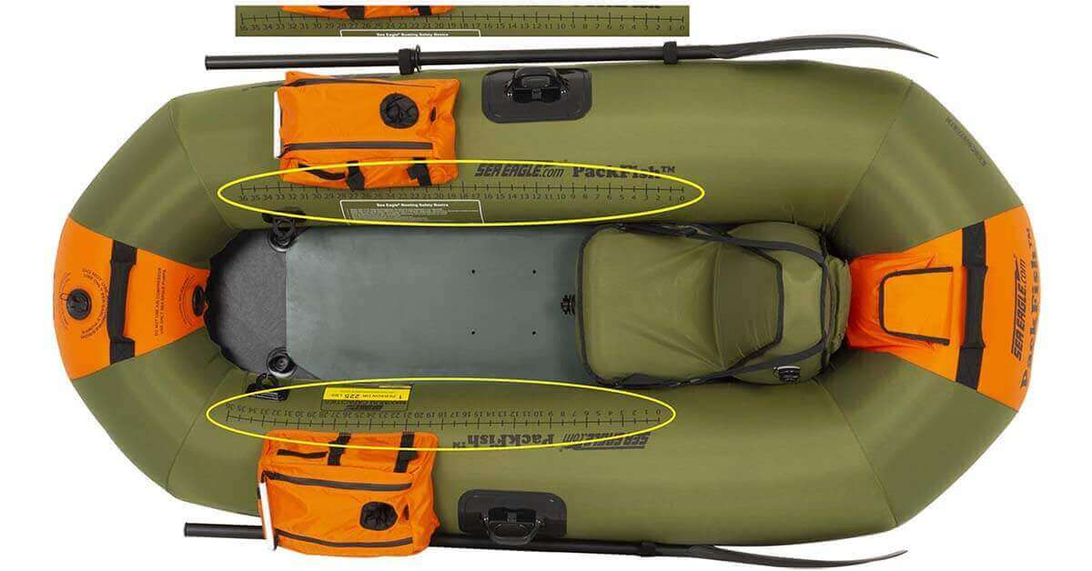 """The Sea Eagle PackFish7 Inflatable Frameless Fishing Boat has two built-in 36"""" fish rulers."""