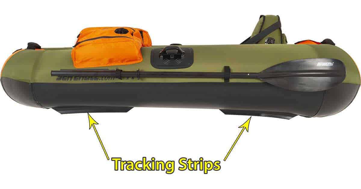 The Sea Eagle PackFish 7 Inflatable Frameless Fishing Boat has four tracking strips.