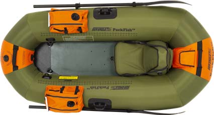 Top view of a Sea Eagle PackFish7 Inflatable Frameless Fishing Boat.