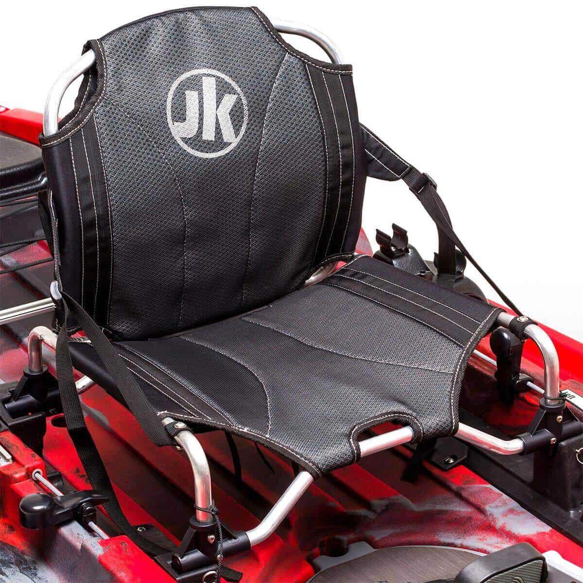 Jackson Kayak Adjustable Hi-Lo Ergonomic Seat with MOLLE System on the Big Rig FD fishing kayak.