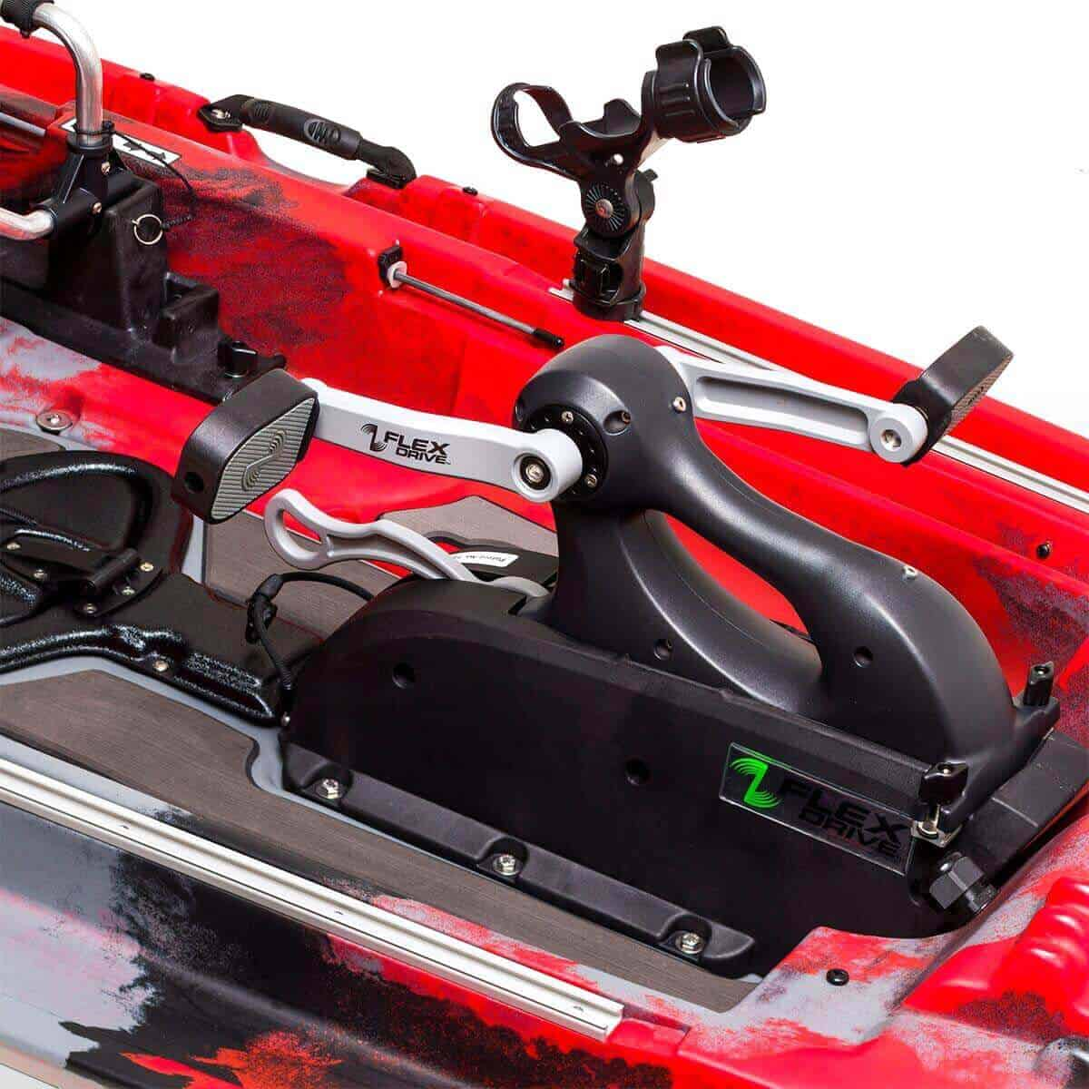 The Flex Drive 3D Pedal Drive Pod and YakAttack Omega Rod on the Jackson Kayak Big Rig FD fishing kayak.