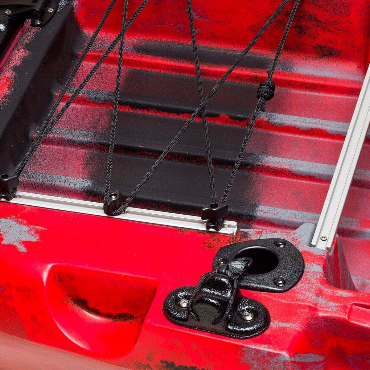 The tankwell, bungee system, and Fly Rod Management System at the stern of the Jackson Kayak Big Rig FD fishing kayak.