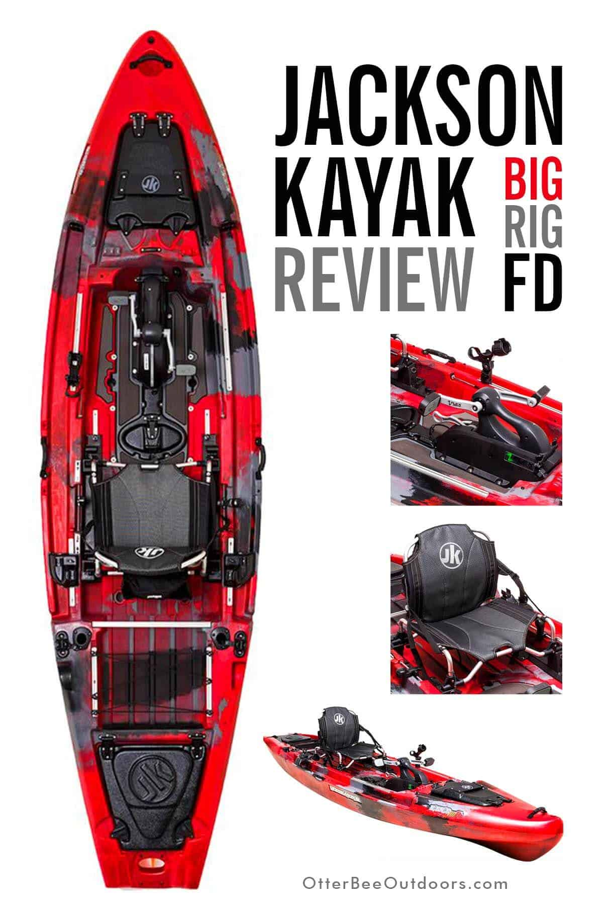 Jackson Kayak Big Rig FD Review. The Jackson Kayak Big Rig FD with its Flex Drive 3D Pedal Drive is one of Jackson's most popular boats. Power, propulsion, steering, maneuverability, tracking, stability, comfort, storage, rod holders, and gear management are all thoughtfully designed to meet the needs of many fishing styles.