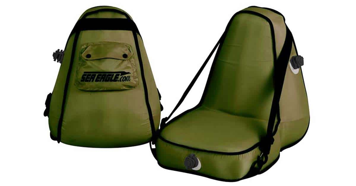 The Sea Eagle Deluxe Inflatable Kayak Seat in green with a rear storage pouch provides great back support while rowing, paddling, and fishing.